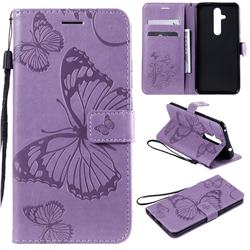 Embossing 3D Butterfly Leather Wallet Case for Nokia 8.1 Plus (Nokia X71) - Purple