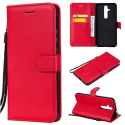 Retro Greek Classic Smooth PU Leather Wallet Phone Case for Nokia 8.1 Plus (Nokia X71) - Red
