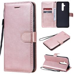 Retro Greek Classic Smooth PU Leather Wallet Phone Case for Nokia 8.1 Plus (Nokia X71) - Rose Gold