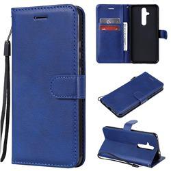 Retro Greek Classic Smooth PU Leather Wallet Phone Case for Nokia 8.1 Plus (Nokia X71) - Blue