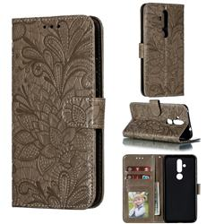 Intricate Embossing Lace Jasmine Flower Leather Wallet Case for Nokia 8.1 Plus (Nokia X71) - Gray