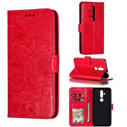 Intricate Embossing Lace Jasmine Flower Leather Wallet Case for Nokia 8.1 Plus (Nokia X71) - Red
