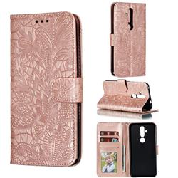 Intricate Embossing Lace Jasmine Flower Leather Wallet Case for Nokia 8.1 Plus (Nokia X71) - Rose Gold
