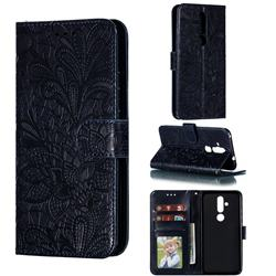 Intricate Embossing Lace Jasmine Flower Leather Wallet Case for Nokia 8.1 Plus (Nokia X71) - Dark Blue
