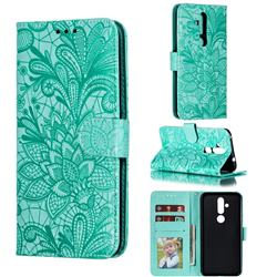 Intricate Embossing Lace Jasmine Flower Leather Wallet Case for Nokia 8.1 Plus (Nokia X71) - Green