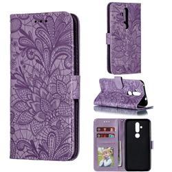 Intricate Embossing Lace Jasmine Flower Leather Wallet Case for Nokia 8.1 Plus (Nokia X71) - Purple