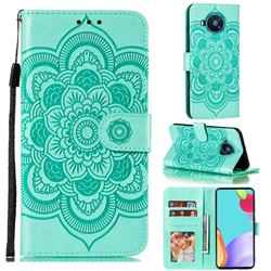 Intricate Embossing Datura Solar Leather Wallet Case for Nokia 8.3 - Green