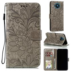 Intricate Embossing Lace Jasmine Flower Leather Wallet Case for Nokia 8.3 - Gray