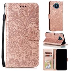 Intricate Embossing Lace Jasmine Flower Leather Wallet Case for Nokia 8.3 - Rose Gold