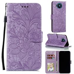 Intricate Embossing Lace Jasmine Flower Leather Wallet Case for Nokia 8.3 - Purple
