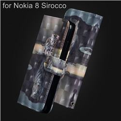 Tiger and Cat 3D Painted Leather Wallet Case for Nokia 8 Sirocco
