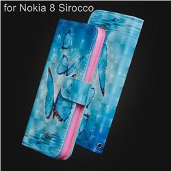 Blue Sea Butterflies 3D Painted Leather Wallet Case for Nokia 8 Sirocco