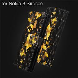 Golden Butterfly 3D Painted Leather Wallet Case for Nokia 8 Sirocco