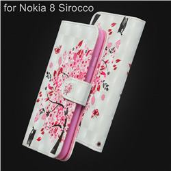 Tree and Cat 3D Painted Leather Wallet Case for Nokia 8 Sirocco