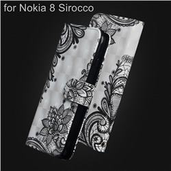 Black Lace Flower 3D Painted Leather Wallet Case for Nokia 8 Sirocco