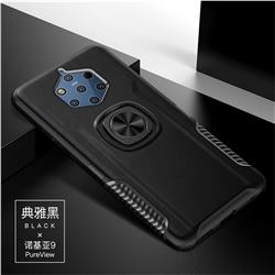 Knight Armor Anti Drop PC + Silicone Invisible Ring Holder Phone Cover for Nokia 9 - Black