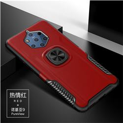 Knight Armor Anti Drop PC + Silicone Invisible Ring Holder Phone Cover for Nokia 9 - Red