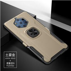 Knight Armor Anti Drop PC + Silicone Invisible Ring Holder Phone Cover for Nokia 9 - Champagne