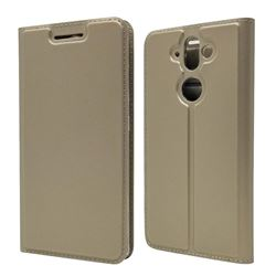 Ultra Slim Card Magnetic Automatic Suction Leather Wallet Case for Nokia 9 - Champagne