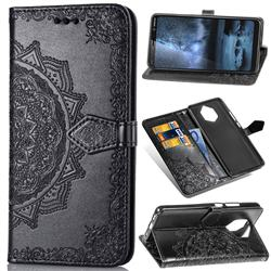 Embossing Imprint Mandala Flower Leather Wallet Case for Nokia 9 - Black