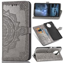 Embossing Imprint Mandala Flower Leather Wallet Case for Nokia 9 - Gray