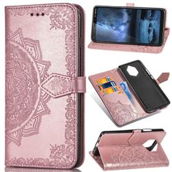 Embossing Imprint Mandala Flower Leather Wallet Case for Nokia 9 - Rose Gold