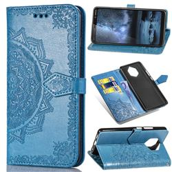 Embossing Imprint Mandala Flower Leather Wallet Case for Nokia 9 - Blue