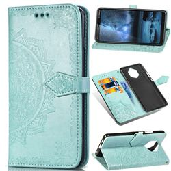 Embossing Imprint Mandala Flower Leather Wallet Case for Nokia 9 - Green