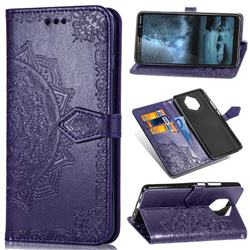 Embossing Imprint Mandala Flower Leather Wallet Case for Nokia 9 - Purple