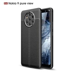 Luxury Auto Focus Litchi Texture Silicone TPU Back Cover for Nokia 9 PureView - Black