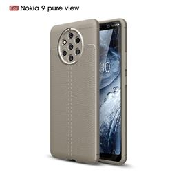 Luxury Auto Focus Litchi Texture Silicone TPU Back Cover for Nokia 9 PureView - Gray