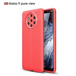 Luxury Auto Focus Litchi Texture Silicone TPU Back Cover for Nokia 9 PureView - Red