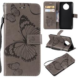 Embossing 3D Butterfly Leather Wallet Case for Nokia 9 PureView - Gray
