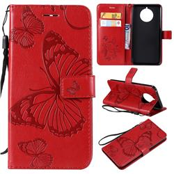 Embossing 3D Butterfly Leather Wallet Case for Nokia 9 PureView - Red