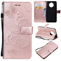 Embossing 3D Butterfly Leather Wallet Case for Nokia 9 PureView - Rose Gold