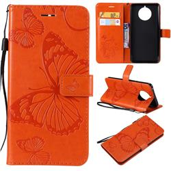 Embossing 3D Butterfly Leather Wallet Case for Nokia 9 PureView - Orange