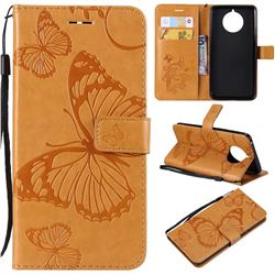 Embossing 3D Butterfly Leather Wallet Case for Nokia 9 PureView - Yellow
