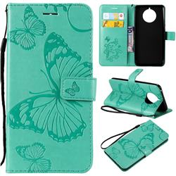 Embossing 3D Butterfly Leather Wallet Case for Nokia 9 PureView - Green