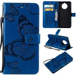 Embossing 3D Butterfly Leather Wallet Case for Nokia 9 PureView - Blue
