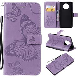 Embossing 3D Butterfly Leather Wallet Case for Nokia 9 PureView - Purple