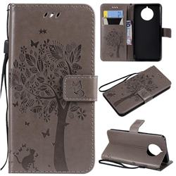Embossing Butterfly Tree Leather Wallet Case for Nokia 9 PureView - Grey