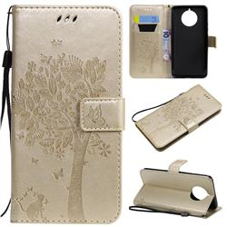 Embossing Butterfly Tree Leather Wallet Case for Nokia 9 PureView - Champagne