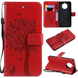 Embossing Butterfly Tree Leather Wallet Case for Nokia 9 PureView - Red