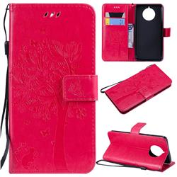 Embossing Butterfly Tree Leather Wallet Case for Nokia 9 PureView - Rose