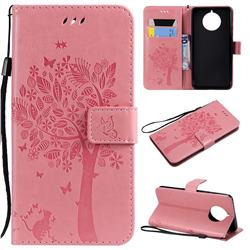 Embossing Butterfly Tree Leather Wallet Case for Nokia 9 PureView - Pink