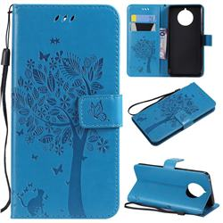 Embossing Butterfly Tree Leather Wallet Case for Nokia 9 PureView - Blue