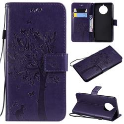 Embossing Butterfly Tree Leather Wallet Case for Nokia 9 PureView - Purple