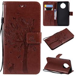 Embossing Butterfly Tree Leather Wallet Case for Nokia 9 PureView - Coffee