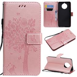 Embossing Butterfly Tree Leather Wallet Case for Nokia 9 PureView - Rose Pink