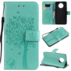 Embossing Butterfly Tree Leather Wallet Case for Nokia 9 PureView - Cyan